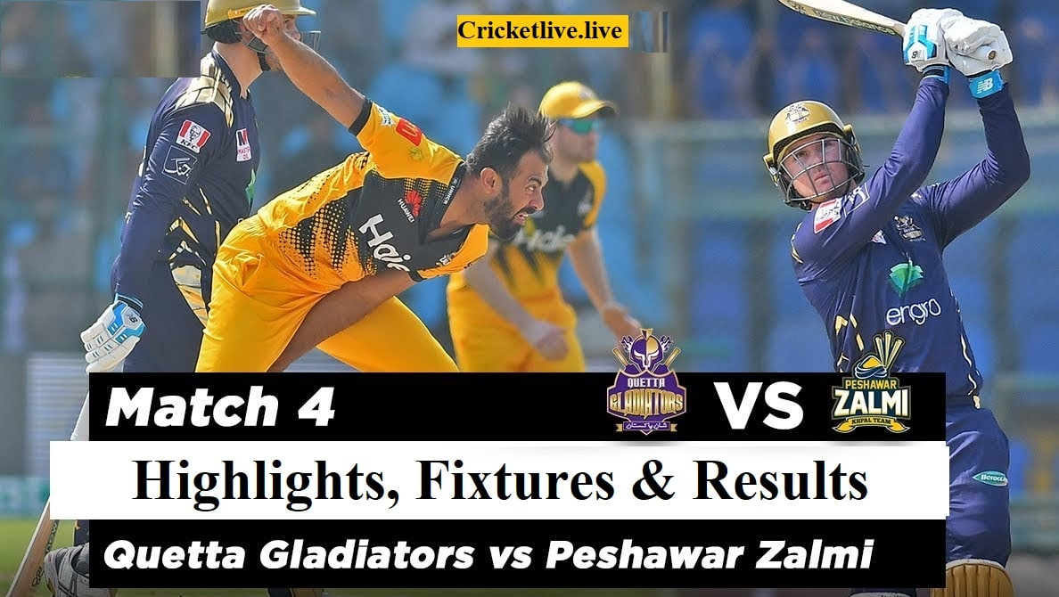 Peshawar Zalmi vs Quetta Gladiators Highlights