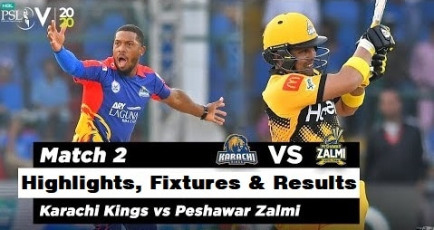 peshawar zalmi vs karachi kings 2nd match highlights
